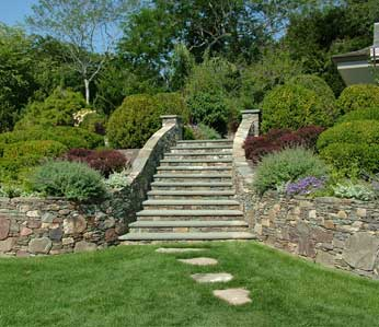 Craig Socia Garden Design images of gardens, twig style, stone work and pools